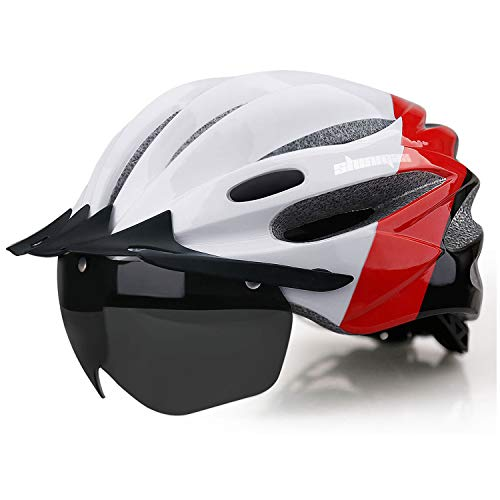 Shinmax Adult Bike Helmet,Bicycle Helmet Men with Removable Magnetic Goggles &Detachable Sun Visor & USB Chargeable Led Light Adjustable Cycling Helmet Women Specialized Road Mountain Helmet SM-T98