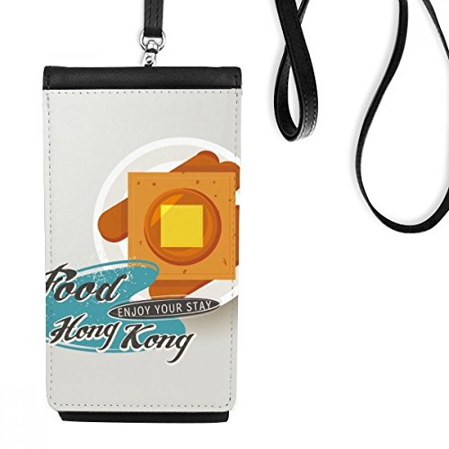 Hong Kong French Toast China Faux Leather Smartphone Hanging Purse Black Phone Wallet (Hanging French Purse)