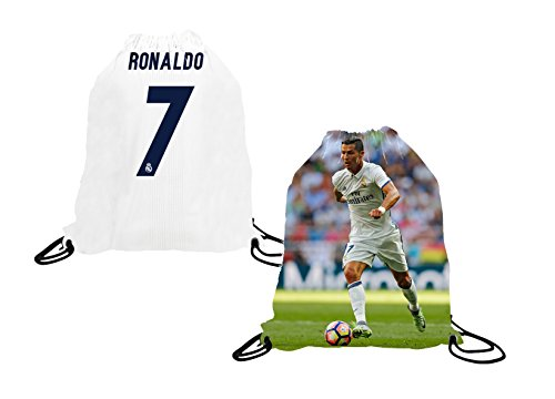 Athletics Rhinox Cristiano Ronaldo Soccer Jersey Picture Drawstring Backpack ✓ Premium Unique School Bag ✓ Perfect Gift for Ronaldo Real Madrid Soccer Fans (Drawstring Backpack, Ronaldo)