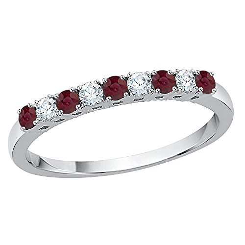 KATARINA Diamond and Alternating Ruby Wedding Band in 10K White Gold (3/8 cttw, G-H, I2-I3) (Size-7.25)