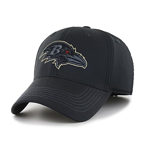 OTS NFL Baltimore Ravens Wilder Center Stretch Fit Hat, Black, Medium/Large Baltimore Ravens Black Fashion