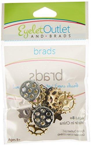 Eyelet Outlet Shape Brads, Gears, 12-Pack by EYELET OUTLET