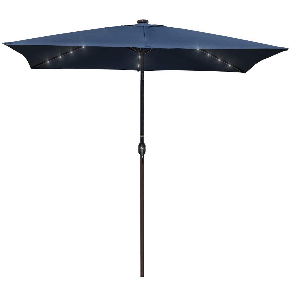 Sundale Outdoor Rectangular Solar Powered 26 LED Lighted Patio Umbrella Table Market Umbrella with Crank and Push Button Tilt for Garden, Deck, Backyard, Pool, 6 Alu. Ribs, 9 by 6.5-Feet (Navy Blue)