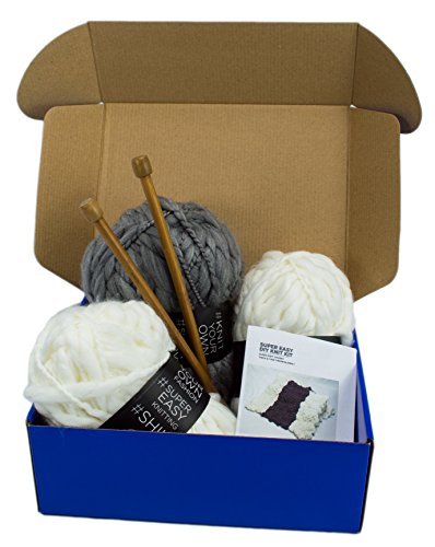 DIY Knitting Blanket Kit Super Soft Thick and Thin Bulky Yarn US 15 Needles (Heather Grey & Off White) by Rising Phoenix Industries (Image #4)