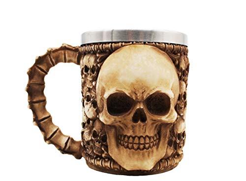 VOTENVO Stainless Steel Liner Drinking Cup Skull Beer