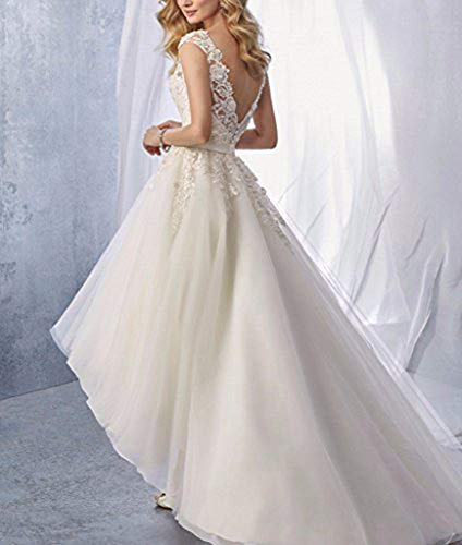 PROMLINK Lace Mermaid Wedding Dress for Bride V Neck Ball Gown Open Back