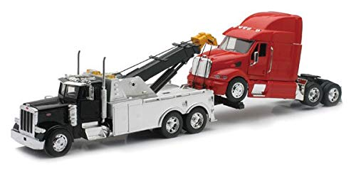 New Ray SS-12053 Toys 1: 32 Scale Peterbilt Tow Truck with Red Peterbilt Cab Semi Truck ()