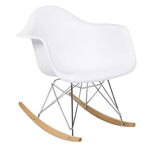 Best Choice Products Mid-Century Modern Contemporary Eames Style Accent Rocking Lounge Arm Chair Furniture for Living Room, Bedroom with Wood Legs, White
