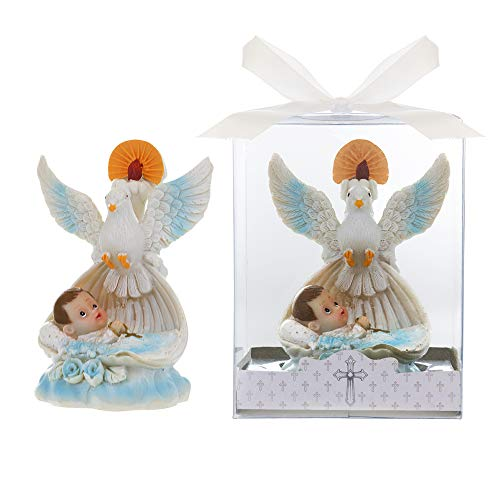 Lunaura Religious Keepsake - Set of 12Boy Baby Laying in Basket with Dove and Candle Favors - Blue