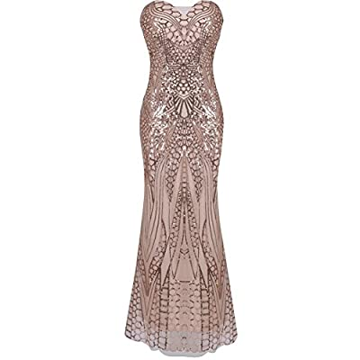 iShine Women's 1920s Beaded Sequin Banquet Prom Dress Sexy Strapless Sweetheart Mesh Lace up Maxi Long Party Dress