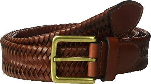 Cole Haan Men's 35mm Woven Leather Belt, british tan, 38