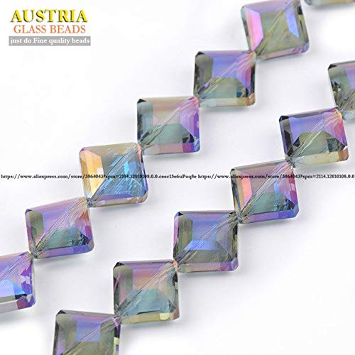 Calvas Rectangle Austrian Crystal Beads 14mm 20pcs Square Shape Glass Loose Beads for Jewelry Making Bracelet DIY - (Color: 5)
