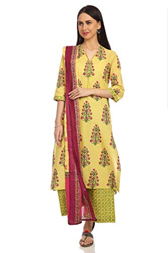 (BIBA Yellow Straight Cotton Suit Set Size 34)