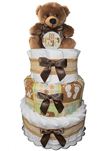 Teddy Bear Diaper Cake - Baby Shower Centerpiece - Gender Neutral Newborn Gift ()