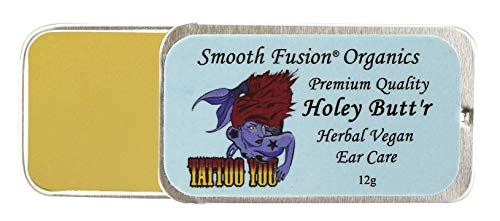 Holey Buttr Premium Stretched Ear Lobe Cream, Piercing Ear Care, Fights Infection, 12 Grams, Vegan, 8 Weeks Herbal Infused, 15 Non Gmo Organic Ingredient, Ear Gauge Balm, Gauge Stretching, Aftercare