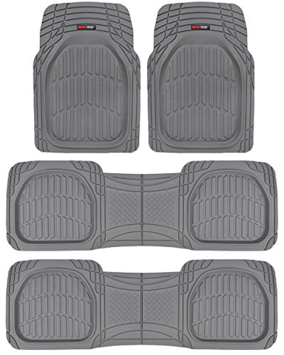 Motor Trend MT-923-920 Gray FlexTough Contour Liners-Deep Dish Heavy Duty Rubber Floor Mats for 3 Row Car SUV Truck & Van-All Weather Protection