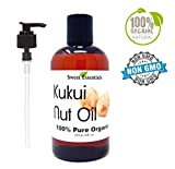 100% Organic Kukui Nut Oil | Imported From Hawaii | Various Sizes | 100% Pure | Cold-Pressed | Natural Moisturizer for Skin, Hair and Face | By Sweet Essentials (8 fl oz With Pump)