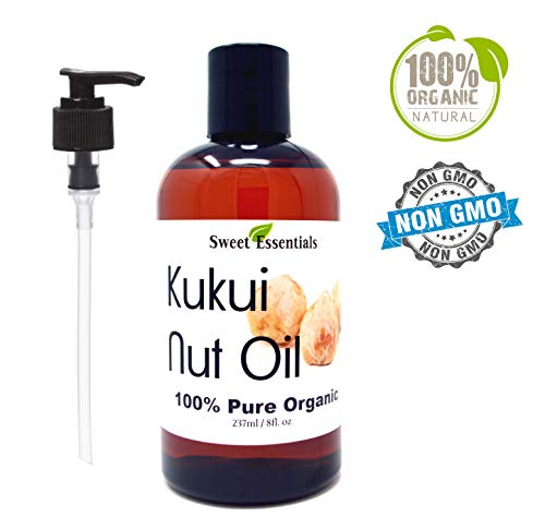 Nut Oil Kukui - 100% Organic Kukui Nut Oil | Imported From Hawaii | Various Sizes | 100% Pure | Cold-Pressed | Natural Moisturizer for Skin, Hair and Face | By Sweet Essentials (8 fl oz With Pump)