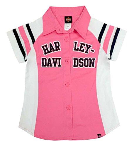 - Harley-Davidson Little Girls' Glittery Short Sleeve Shop Shirt Pink 1030571 (6X)