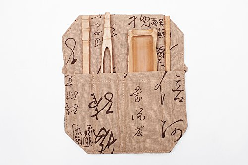 Bamboo Print Tongs (Five Piece Tea Accessories Utensils Set Kongfu Tea Ceremony In Protective Case (golden oak, beige))