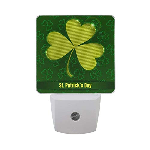 Yongxiafdknight 2 Pack Goodnight St Patricks Day with Clover Shamrock Theme LED Night Light Dusk to Dawn Sensor Plug in Designs Indoor Home Decor for Adult Kids Baby Children