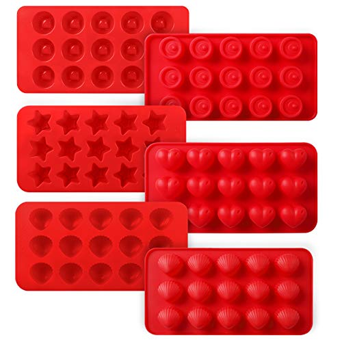 - Kootek 6 Pieces Silicone Chocolate Molds, Reusable 90 Cavity Candy Mold - BPA Free Baking Supplies Tools for Making Chocolates Hard Candies Gummy Gumdrop Jelly Desserts Ice Cube Candles Soap Pudding