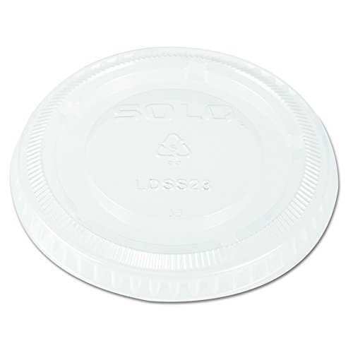 Solo LDSS23-0090 Polypropylene and Polystyrene Snaptight Fluted Edge Recessed Lid for Sauce and Side Containers Clear (Case of 25) Fluted Sauce