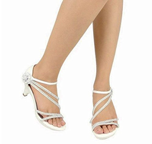 Donne Strass Strappy Open Toe Mid Heel Dress Sandalo Pompe Argento_a-48