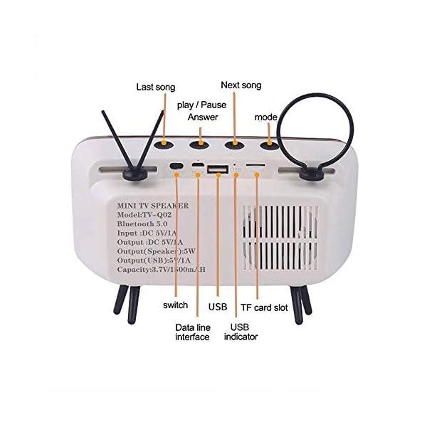 Enceinte Portable Rétro Bluetooth,TV Support de téléphone Portable Haut-Parleur,AUX FM Bluetooth en Option, qualité sonore stéréo 3D 3