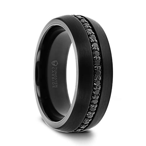 Thorsten Valiant | Tungsten Rings for Men | Black Tungsten | Comfort Fit | Wedding Ring Band with Black Sapphires - 8mm (8mm, 11)