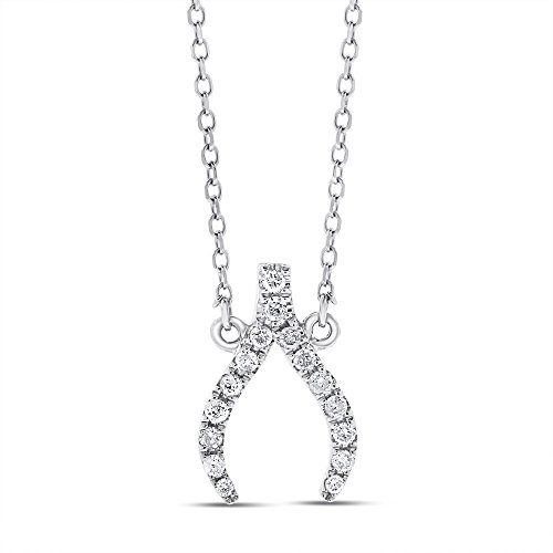 (0.15 Ct. Natural Diamond Lucky Wishbone Pendant Necklace Solid 14k White Gold)