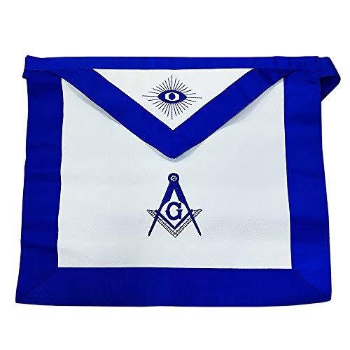 FunYan Masonic Apron Synthetic Leather Blue Lodge Master Mason Blue Grosgrain Ribbon Borders