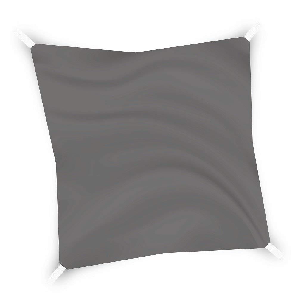 Eglemtek Toile pare-soleil carrée, voile, drap pour extérieur, protection contre les rayons UV, tissu en polyéthylène résistant et imperméable de couleur grise 3x3 m gris