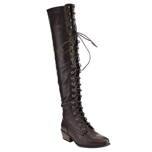 Beston DE11 Damen Schnürschuh Block Heel Side Zip Overknee High Combat Boots Braun