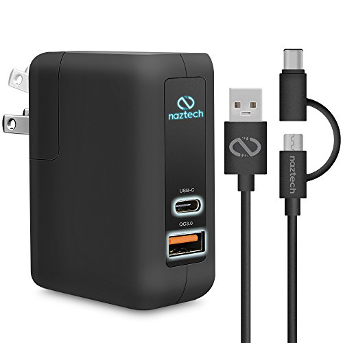 Naztech Adaptive Fast Charge + USB-C Travel Wall Charger with Hybrid USB-C Cable Compatible for iPhone 8/8 Plus/X, Samsung Galaxy S9/S9+, Note8, Macbook, Chromebook Pixel, LG/G6 Plus More (Black)