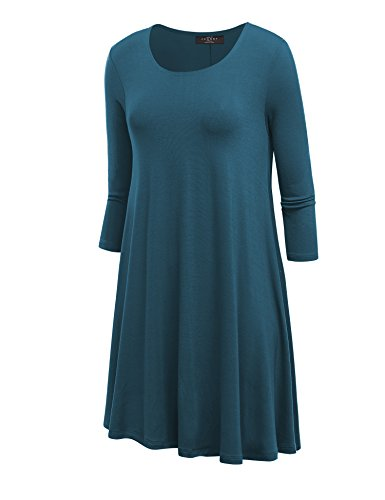 LL WDR930 Womens Round Neck 3/4 Sleeves Trapeze Dress with Pockets XL TEAL