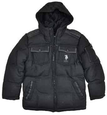 US Polo Assn Big Boys Black Wool Hooded Outerwear Coat (8)