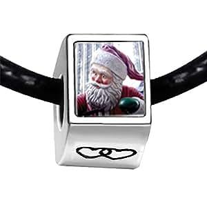 Chicforest Silver Plated Santa Statue Photo Double Heart Charm Beads Fits Pandora Bracelet