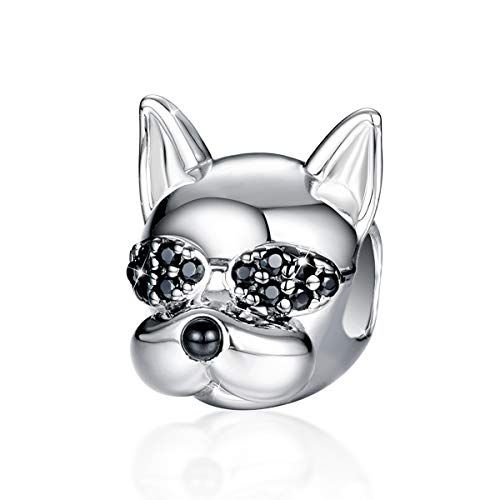 FOREVER QUEEN Dog Charms 925 Sterling Silver Puppy Dog Charms French Bulldog Animal Beads with 5A Cubic Zirconias fit European Charm Bracelet for Dog Lovers