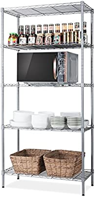 Amazon Com Singaye 5 Tier Storage Rack Wire Shelving Unit Storage Shelves Metal For Pantry Closet Kitchen Laundry 660lbs Capacity 23 6 L X 14 W X 59 1 H Silver Home Kitchen