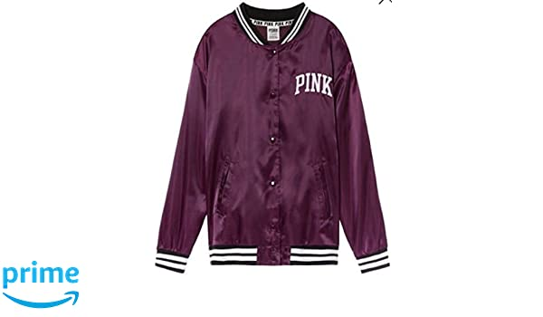dd695a816 Amazon.com: Victoria's Secret Pink Satin Bomber Jacket Black Orchid ...