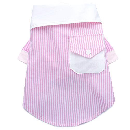 United Pups Chill Pups Pink and White French Contrast Striped Dog Dress Shirt (Medium)