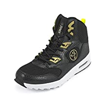 Zumba Air Classic High Top Shoes Dance Fitness Workout Sneakers for Women, Black/Gold, 11