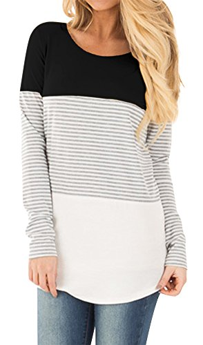 For G and PL Women Color Block Long Sleeve Cotton Tunic Stripe Casual Knits Shirts Blouse Tops Black L