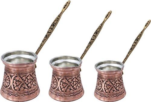 (Heavy Duty Hand Made Engraved Copper Turkish Greek Arabic Armenian Coffee Pot SET - Stovetop Coffee Maker Cezve Ibrik Briki with Brass Handle - Small-5.1Oz/Medium-8.5Oz/Large-13.5Oz - (CPS-104) )