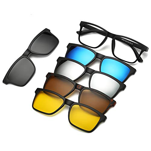 5 Pieces Clip On Sunglasses Polarized Magnetic Glasses Spectacle Frame Men Women Male Driving Myopia ()