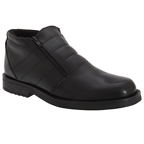 Roamers Herren Stiefeletten mit doppeltem Reißverschluss Schwarz