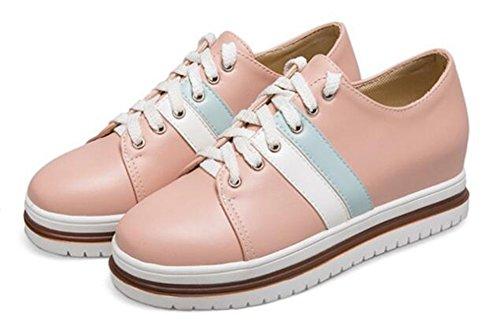 Showhow Dames Casual Ronde Neus Laag Boven Hoogte Midden Sleehak Platform Fashion Sneakers Roze 2
