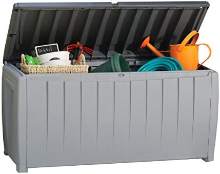Keter Novel 90 Gallon Resin Deck Box-Organization and Storage for Patio Furniture Outdoor Cushions, Throw Pillows, Garden Tools and Pool Toys, Grey Black