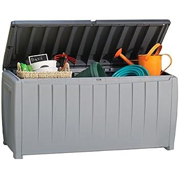 Keter Novel 90 Gallon Resin Outdoor Storage Box for Patio Furniture Cushions, 90-Gallon, Grey/Black
